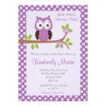 Purple Damask Owl Baby Shower Invitation