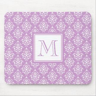 Purple Damask Pattern 1 with Monogram Mouse Pad