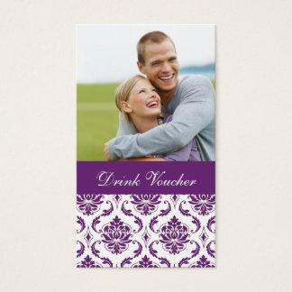 Purple Damask Photo Wedding Drink Voucher Business Card