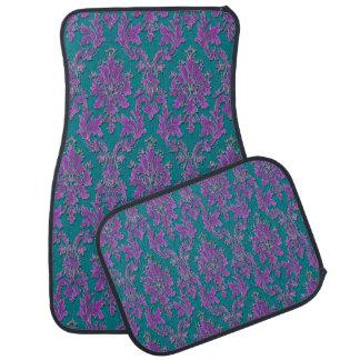 Purple Damask Print on Teal or Your Color Car Floor Carpet