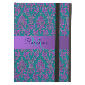 Purple Damask Print on Teal or Your Color Cover For iPad Air