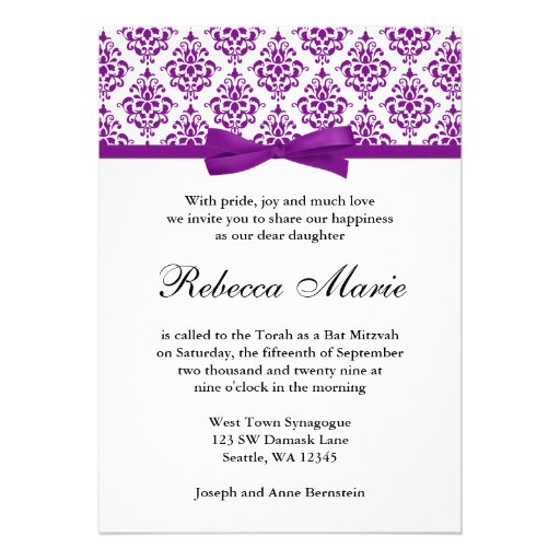 Purple Damask Ribbon Bow Bat Mitzvah Invitations Custom Announcements