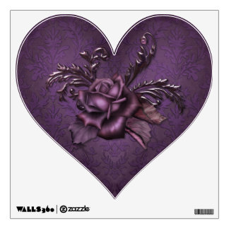 Purple Damask Rose Wall Sticker