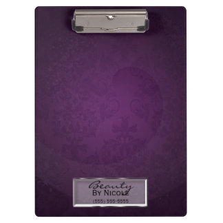 Purple Damask Swirl Elegant chic Glam Personalized Clipboard