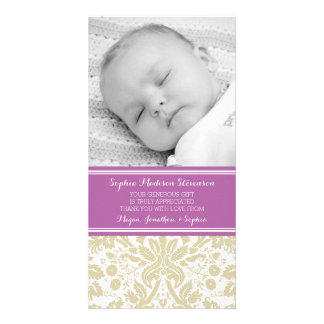 Purple Damask Thank You Baby Shower Photo Cards