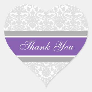 Purple Damask Thank You Wedding Envelope Seals Heart Sticker