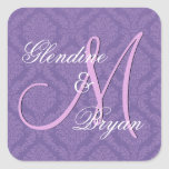 PURPLE Damask Wedding Bride Groom Monogram V2C Square Stickers