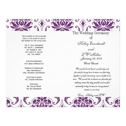Purple Damask Wedding Church Program Flyers