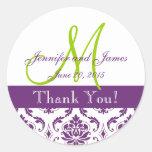 Purple Damask Wedding Favour Sticker