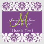 Purple Damask Wedding Favour Thank You Square Stickers