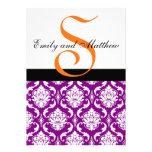 Purple Damask Wedding Invitations Orange Monograms