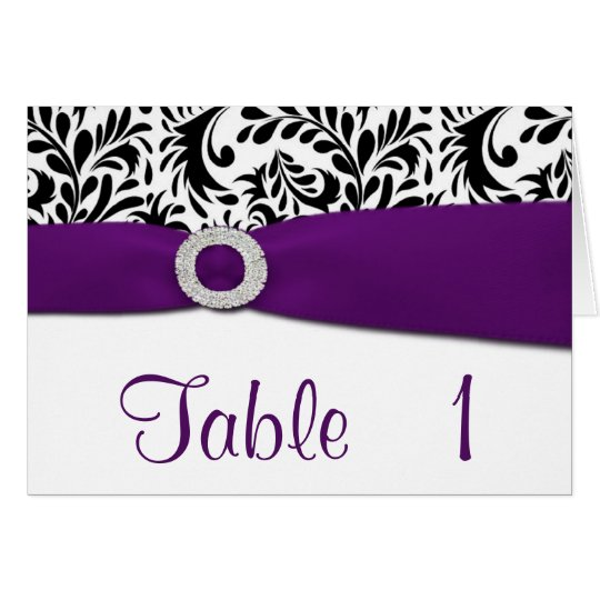 Purple Damask Wedding Reception Table Number Cards
