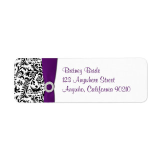Purple Damask Wedding Return Address Seals
