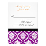 Purple Damask Wedding RSVP Card | Orange Monogram