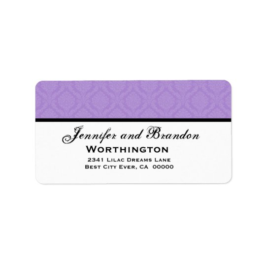Purple Damask Wedding Set