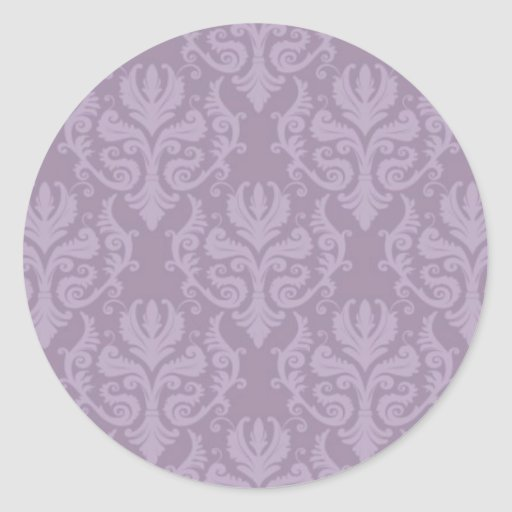 Purple Damask Wedding Stickers