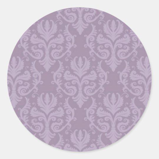 Purple Damask Wedding Stickers