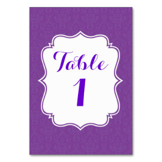 Purple damask wedding table number card table card