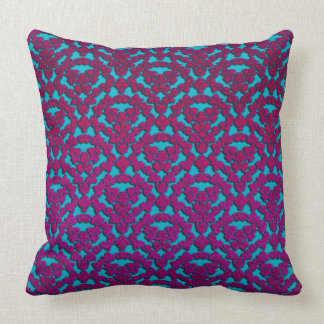 Purple Damasks On Blue Throw Pillow