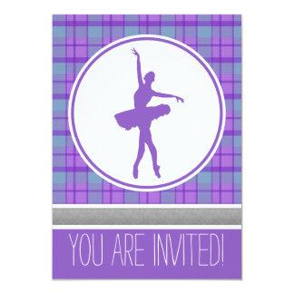 Purple Dancer Sweetheart Plaid Party Invitation