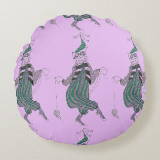 Purple Dancing Jester Cat Round Pillow