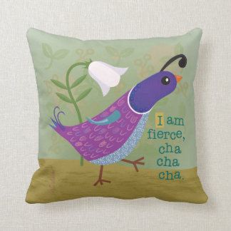 Purple Dancing Quail Throw Pillow