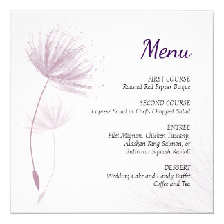 Purple Dandelion Menu Card
