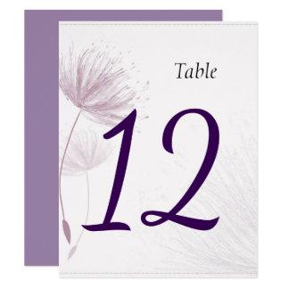 Purple Dandelion Wedding Table Numbers Card