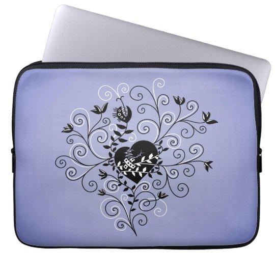 Purple Dark Abstract Whimsical Fixed Broken Heart Laptop Sleeve