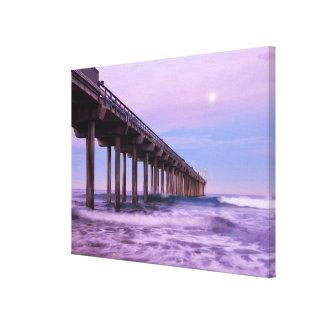 Purple dawn over pier, California Canvas Print