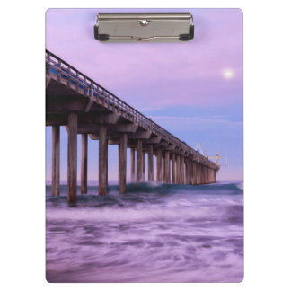 Purple dawn over pier, California Clipboards