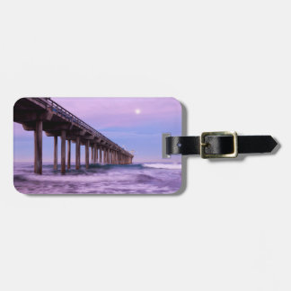 Purple dawn over pier, California Luggage Tag