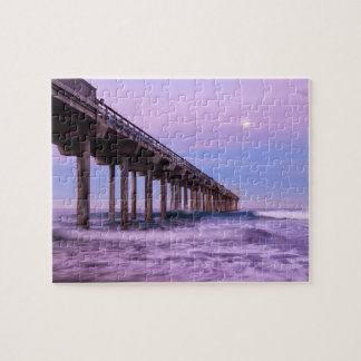 Purple dawn over pier, California Puzzle
