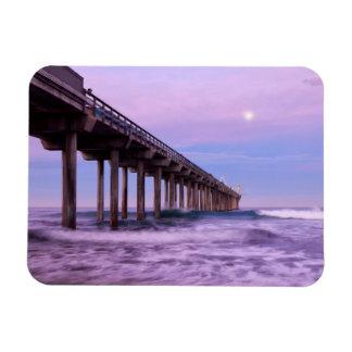 Purple dawn over pier, California Rectangular Photo Magnet