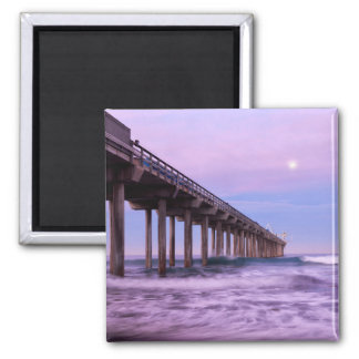 Purple dawn over pier, California Square Magnet