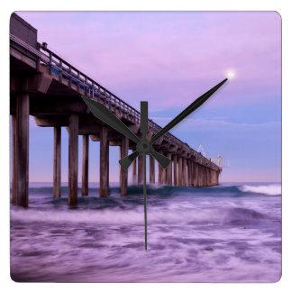 Purple dawn over pier, California Square Wall Clock