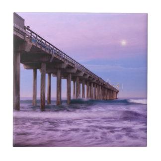 Purple dawn over pier, California Tile