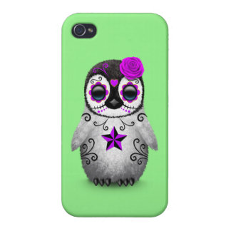 Purple Day of the Dead Sugar Skull Penguin Green iPhone 4/4S Cases