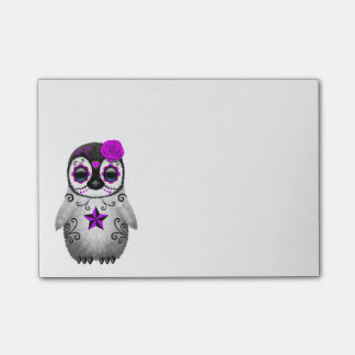 Purple Day of the Dead Sugar Skull Penguin Post-it® Notes