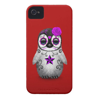 Purple Day of the Dead Sugar Skull Penguin Red Case-Mate iPhone 4 Case