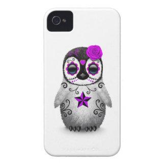 Purple Day of the Dead Sugar Skull Penguin White Case-Mate iPhone 4 Cases