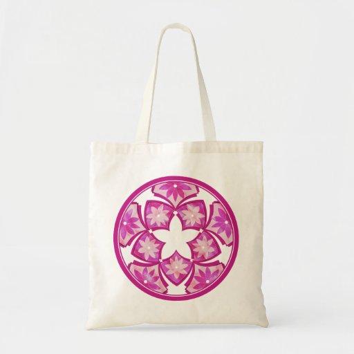 Purple Decorative Floral Tiles Bag Zazzle