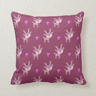 Purple Deer And Mushrooms Throw Pillow