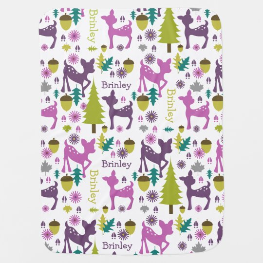 Purple Deer Personalized Baby Blanket