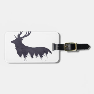 Purple Deer Silhouette With Trees and Clouds Adjus Luggage Tag