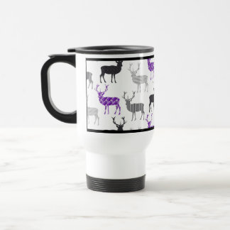 Purple Deer Stag Christmas Pattern Travel Mug