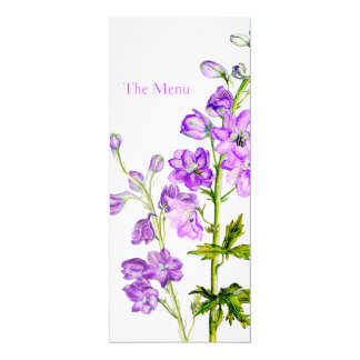 "Purple delphinium art wedding dinner menu 4"" x 9.25"" invitation card"