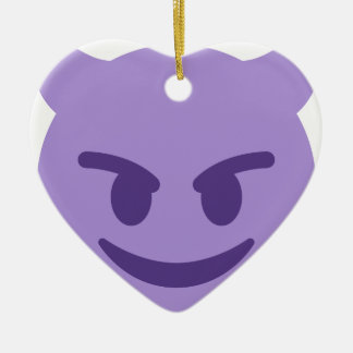 Purple Devil Emoji Ceramic Ornament