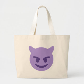 Purple Devil Emoji Large Tote Bag