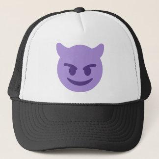 Purple Devil Emoji Trucker Hat